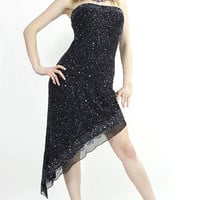 80s Strapless sequin beaded high low dress