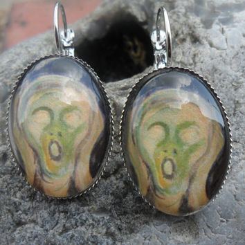 The Scream earrings, oval, silver plated, lever fastening; UK seller
