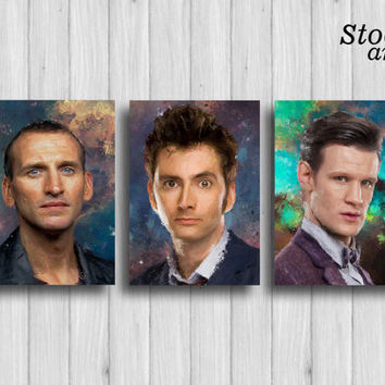 doctor who print set of 3: christopher eccleston david tennant matt smith dr who decor