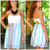 Andes Lilac & Mint Striped Strapless Dress