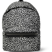 Saint Laurent - Leather-Trimmed Baby Cat-Patterned Backpack | MR PORTER