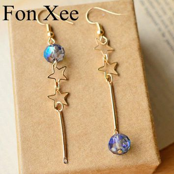 Fon Xee Mismatch Double Star Earrings for Women Gold Color Long Minimalist Earrings Mothers Day Gifts Elegant Jewelry ne19