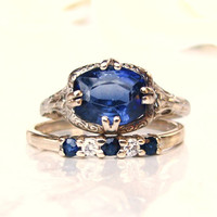 Lambert Bros. Antique Sapphire Filigree Engagement Ring Sapphire & Diamond Wedding Ring Bridal Set 14K White Gold Edwardian Engagement Ring!
