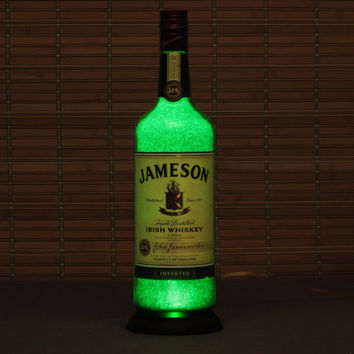 Jameson Irish Whiskey Bottle Lamp/Light-VIDEO DEMO-11 year LED - Intense Sparkle & Glow / Diamond Like Glass coating inside