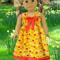 American girl doll clothes, 18 inch doll dress, Girls Christmas gift, Girls Birthday gift, Yellow doll dress
