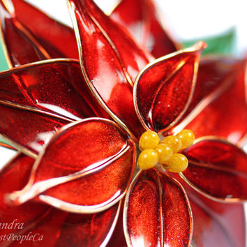 Flower Hair Pin Poinsettia Wedding Accessories Japanese Kanzashi OOAK