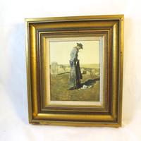Vintage Cowboy Picture Gilded Wood Frame Lone Cowboy Framed Lithograph Linen Matt Southwestern Print 11 x 12 inches