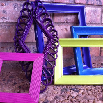 Funky Vintage Frames Upcycled Painted Summer Colors by FeFiFoFun
