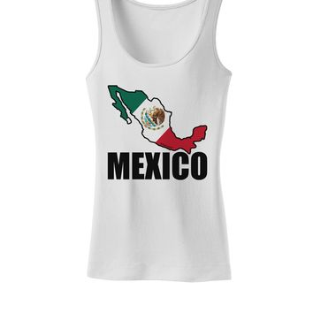 Mexico Outline - Mexican Flag - Mexico Text Womens Tank Top by TooLoud
