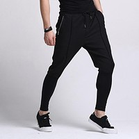 New Mens fashion black Harem pants drop crotch hip hop sweatpants pantalones hombre pantalon homme m69