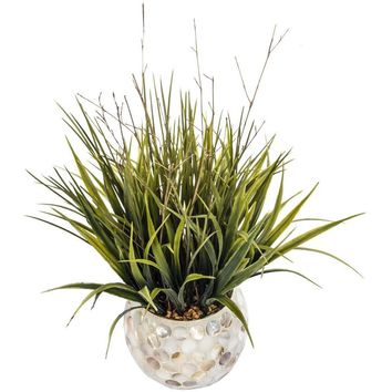 "Set of 2 - Grass in Pearl Mosaic Vase (13x13x15"" H)"