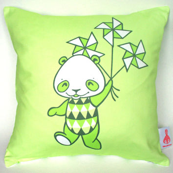 "Panda Cushion Cover 16"" x 16"" Handmade 100% Cotton Throw Pillow Cushion Cover Green Panda Designer Living Room Home Decor Harlequin Print"