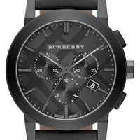 Men's Burberry Check Stamped Chronograph Leather Strap Watch, 42mm