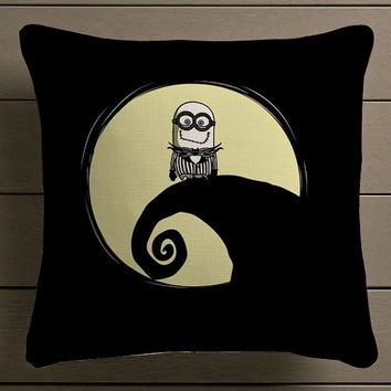 little minion disney nightmare before christmas Square Pillow Case Custom Zippered Pillow Case one side and two side