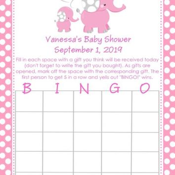10 Pink Polka Dot Elephant Baby Shower Bingo Cards