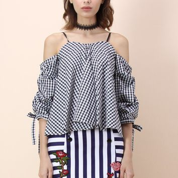 Knot the Black Gingham Cold-shoulder Top