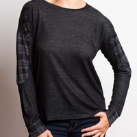 Charcoal and Black Plaid L/S Top