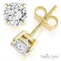 Created Diamond Round Stud Earrings ~ Screw back
