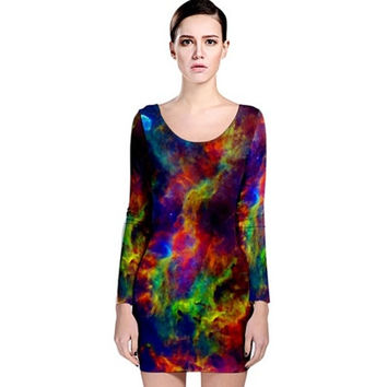 Wearable Art, custom made, exclusive design, bodycon dress long sleeve shaping flattering Galaxy colorful stars universe design + PLUS SIZE