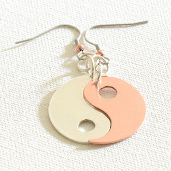 Yin Yang Earrings in Copper and Sterling Silver