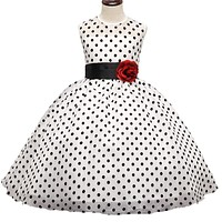 Teen Girl Black Polka Dot Summer Dress Baby Girls Princess Events Party Dress Wedding Gown for Children Clothing Girl 4-10 Years