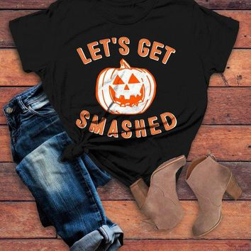 Women's Funny Halloween T Shirt Let's Get Smashed Pumpkin Graphic Tee Hilarious Halloween