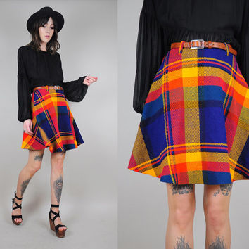 rainbow PLAID vtg 70's mini circle SKIRT 60's high waist neon tartan Schoolgirl preppy xs