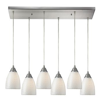 Arco Baleno 6 Light Pendant Satin Nickel White Swirl Hand Blown Glass