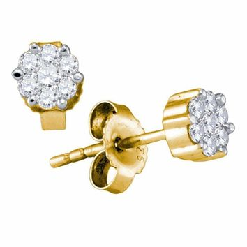 14kt Yellow Gold Women's Round Diamond Flower Cluster Earrings 1-3 Cttw - FREE Shipping (US/CAN)