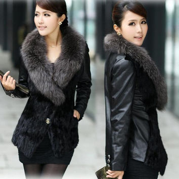 Splendid Winter Faux Fur Long Sleeve Outerwear Women's Coat Black = 1695501380