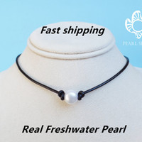 pearl necklace leather pearl choker,single pearl necklace,floating pearl necklace,pearl choker necklace,leather pearl necklace