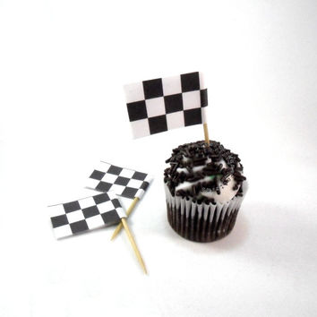 Race Day Checkered Cupcake Flags Party Printables, black and white decorations toppers (Instant 300dpi JPG + PDF Download)