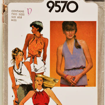 Retro 80's Simplicity Pattern 9570 Steamy Summer Tops in 4 Views Sz 6-8 Uncut FF Hot Weather Camisoles Sewing Patterns Supplies