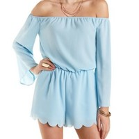 Off-The-Shoulder Bell Sleeved Romper by Charlotte Russe