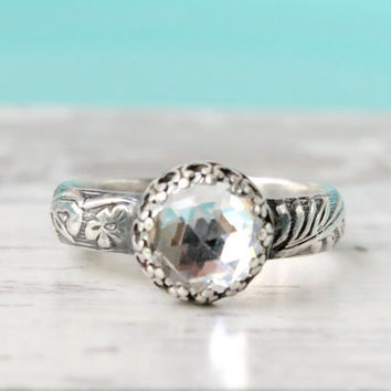 Engagement ring, sterling silver, Swarovski crystal, 3rd or 15th wedding anniversary, vintage floral band, promise ring, April birthstone