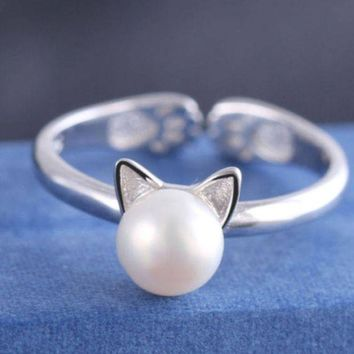 LMFDQ7 925 Sterling Silver Cute Cat Pearl Open Rings