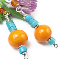 Orange Blue Dangle Earrings, Lampwork Beads, Turquoise Howlite, Summer, Handmade Jewelry