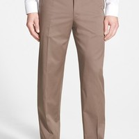 Men's Canali Flat Front Stretch Cotton Trousers