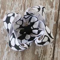 Twisted Butterfly Hairbow, Soccer, Black White, 3 Inch, Twisted Bow, Toddler Hairbow, Hair Clips, Girls Hairbow,