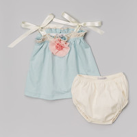 Victoria Kids Aqua Rosette Swing Top & Pearl Diaper Cover - Infant | zulily