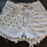 High waist destroy denim shorts super frayed by VIntagedenimcorner