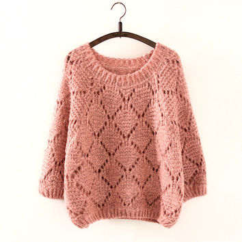 Knit Sweater Korean Autumn Three-quarter Sleeve Hollow Out Jacket [9017749188]