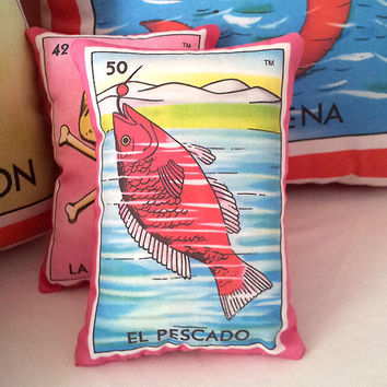 El Pescado Fish Mexican Loteria Mini Pillow with Lavender, Tuck Pillow or Bowl Filler - Christmas / Dia De Los Muertos / Day of the Dead