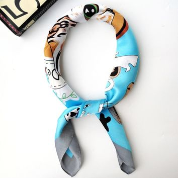 Cat Coffee Scarf Women Men Neck Head Bandana Scarves Blue Green Headband Hairband 70*70cm Headband Hairband Clothing Accessories