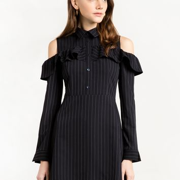 Pinstripe Cold Shoulder Ruffle Dress