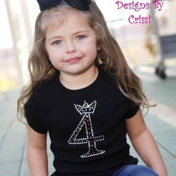Birthday Shirt Age Rhinestone Number Bling Boutique Custom Swarovski Rhinestone for Baby, Toddler, Big Girls, Bday Princess Crown Shirt