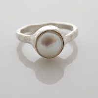 Pearl Ring Gemstone Ring Bezel Set Ring by BellissimoJewelry
