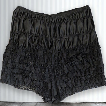 Vintage Bloomers, Black Color, Size Small 1960's Bloomers, Lingere, Petti-Pants, Ruffles