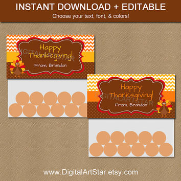 Thanksgiving Treat Bag Toppers, Printable Thanksgiving Party Favors, EDITABLE Bag Labels, Turkey Bag Tags, Thanksgiving Goodie Bag Toppers