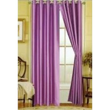 """(#72) 1 PANEL LILAC LAVENDER SOLID THERMAL FOAM LINED BLACKOUT HEAVY THICK WINDOW CURTAIN DRAPES BRONZE GROMMETS 84"""" LENGTH"""